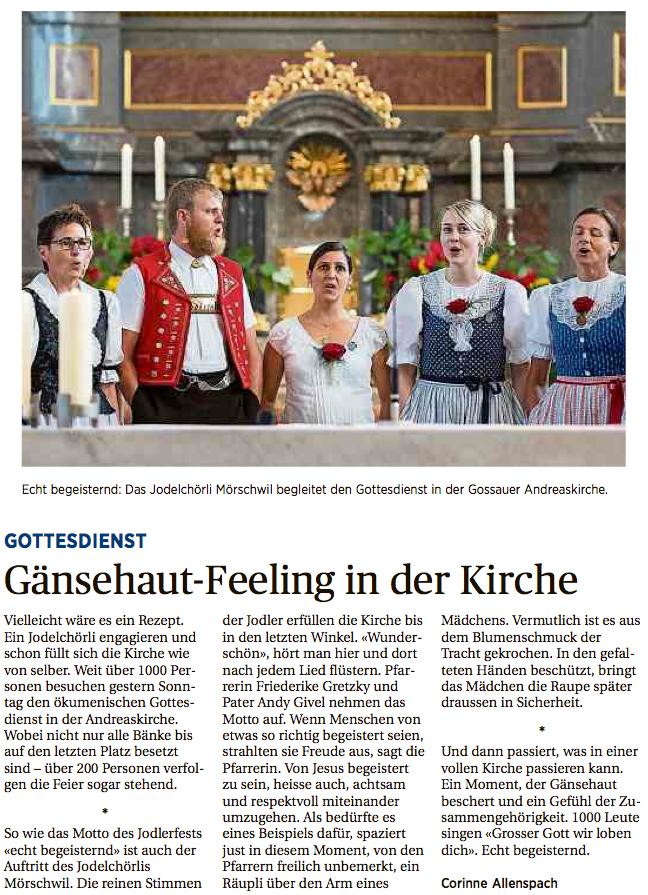 St. Galler Tagblatt - Gaensehaut-Feeling in der Kirche